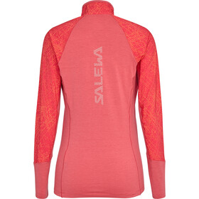 SALEWA Agner Hybrid Durastretch T-shirt manches longues avec demi-zip Femme, rouge red